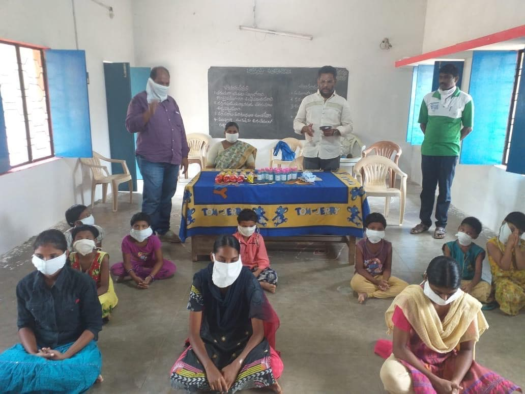 Distribution of Masks & sanitisers